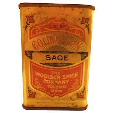 1912 Golden Sun Sage by Woolson Spice Co. Antique Edwardian Full Advertising Tin Box