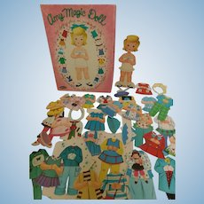 1965 Amy Magic Doll Paper Doll with Clothing and hats in Original Box by Whitman