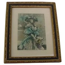 Antique Edwardian Framed Art In a French Garden Lithograph Print Lady in Hat with flowers Hand Tinted Picture