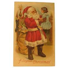 Antique Santa Claus Holding a Doll Christmas Postcard PC