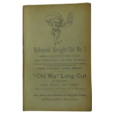 1880 Richmond Straight Cut Old Rip Pipe Tobacco Cigarettes & Palm Leaf Tobacco Works  Advertising Paper Card Allen & Ginter Antique Victorian Ad