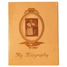 1910 Borden's Condensed Milk Baby Photo Album Premium Advertising Book Illustrated Antique Baby Holding Doll Photograph
