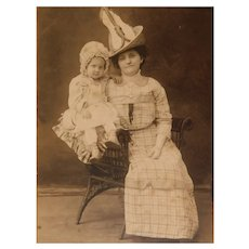 Victorian Photograph Lady with Outrageous Hat & Adorable Baby Antique Cabinet Photo