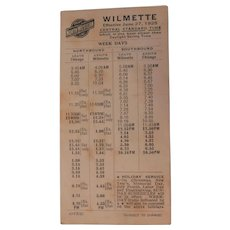 June 27, 1925 North Western Railroad Chicago & Wilmette Illinois Line Train Passenger Schedule Time Table Art Deco RR