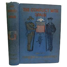 1898 The Conflict With Spain and the Conquest of the Philippines Standard History by Keenan Spanish American War Span Am Military Navy Illustrated Antique Victorian Book