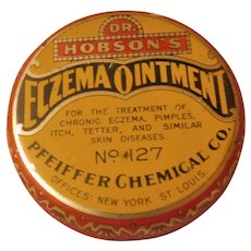 1920 Dr. Hobson's Eczema Ointment for Pimples Tetter Skin Diseases Art Deco Antique Medicine Medical Advertising Litho Tin with Contents