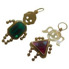 14K Gold Little Girl & Boy Charm Bracelet or Necklace Pendants Red & Green Stones 14KT
