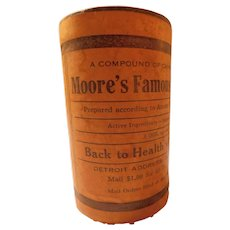 Antique Moore's Famous Ancient Chinese Formula Nature Remedy Unopened Advertising Tin Can Box Quack Medicine Powder