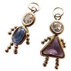 14K Gold Little Girl & Boy Charm Pendants Pink & Baby Blue Stones with Cubic Zirconia Heads CZ 14KT