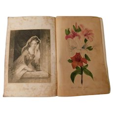 1845 The Ladies Casket Gift For All Seasons Highly Embellished Hand Colored Botanical Plates Illustrated Poetry Prose Antique Victorian Book