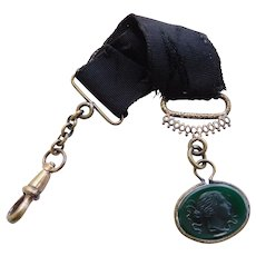 Victorian Intaglio Cameo Roman Grecian Lady Green Glass Watch Fob with Gold Fill Plate Swivel Clip Chain and Black Ribbon Mourning Antique