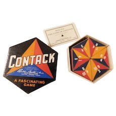Art Deco Contack Parker Brothers Strategy Game for 2-7 Players in Box with Original Rules Vintage 1939 copyright