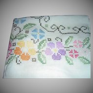 Gorgeous Floral Cross-Stitched Large Linen Tablecloth