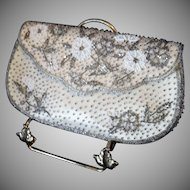 Small Vintage Two-Tone Beaded Evening Clutch Handbag