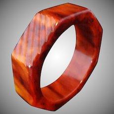Carved Octagon Marbled Caramel Bakelite Bangle Bracelet