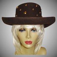 Vintage Studded Wool Felt Hat by Betmar