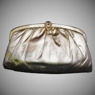 Sleek Vintage Gold Lame` Convertible Clutch Evening Bag Purse