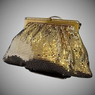 Vintage Whiting and Davis Goldtone Mesh Evening Bag with Rhinestone Accents