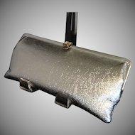 Extra Long Silvertone Convertible Clutch Handbag