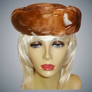 Vintage 1950's Elegant Brown and White Feather Hat