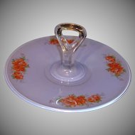 Vintage Hand Painted Glass Tidbit or Sandwich Tray