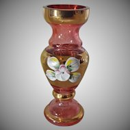 Miniature Hand Made Bohemian Glass Vase with Original Sticker