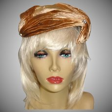 Light Brown Velour Asymmetrical Hat with Rhinestone Accents by Janet