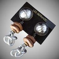 Les Bernard Vintage Bold Runway Earrings on Original Card