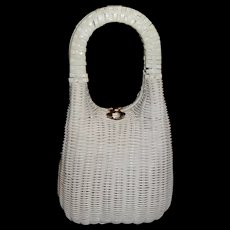 Vintage Tall Sleek White Wicker Basket Purse by Lesco Lona - Red Tag Sale Item