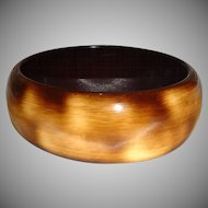 Vintage Mottled Brown Lucite Bangle Bracelet