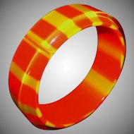 Vintage Orange and Yellow Striped Lucite Bangle Bracelet