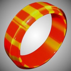 Vintage Orange and Yellow Striped Lucite Bangle Bracelet