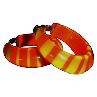 Vintage Bright Orange and Yellow Striped Lucite Earrings