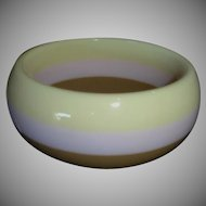 Vintage Pale Pink, Yellow and Brown Laminated Lucite Bangle Bracelet