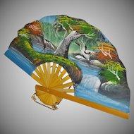 Stunning Vintage Hand-Painted Folding Fan