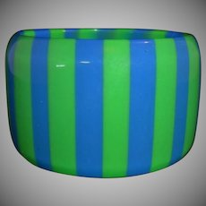 Vintage WIDE Blue and Green Striped Lucite Bangle Bracelet