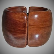 Vintage Wide Simulated Brown Wood Lucite Clamper Bracelet