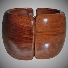 Vintage Wide Simulated Brown Wood Lucite Clamper Bracelet