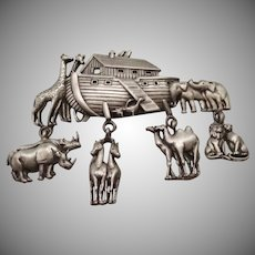 Vintage Noah's Ark Figural Pin by J.J.