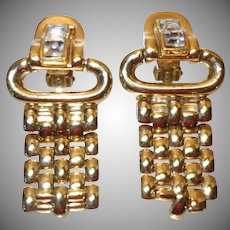 Vintage Givenchy Goldtone Metal and Rhinestone Earrings
