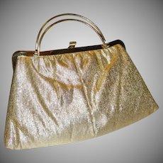 Vintage Gold Lame`Convertible Clutch Purse