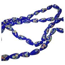 Vintage Cobalt Blue Glass Millefiori Beaded Necklace
