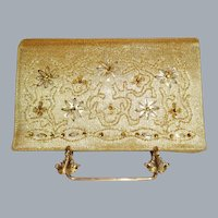 Vintage Soure Gold Lame` Evening Bag with Rhinestone Accents