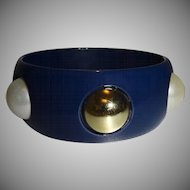 Vintage Blue Lucite Bangle Bracelet with Gold Tone and Imitation Pearl Cabochons