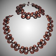Vintage Copper Tone Metal Necklace and Bracelet