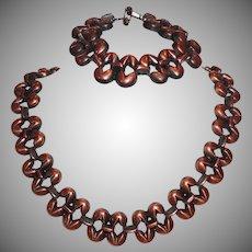 Vintage Copper Tone Metal Necklace and Bracelet