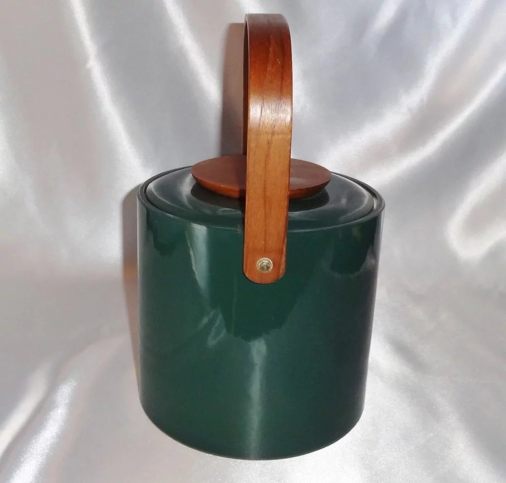 Vintage Mid Century Green Vinyl And Wood Ice Bucket By