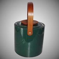 Vintage Mid-Century Green Vinyl and Wood Ice Bucket by George Briard