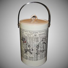 """Vintage Tall Vinyl Ice Bucket """"New York Stock Exchange Transactions"""" with Clear Lucite Handle"""