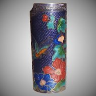 Vintage Blue Butterfly Cloisonne Lighter Cover